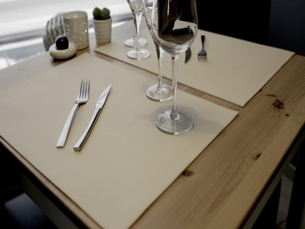 Set de table classic simili cuir beige